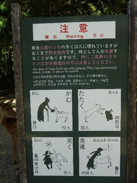 奈良の鹿と触れ合う際の注意の看板
